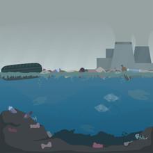 Water Pollution Illustration. ...