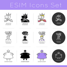 Mental Disorder Icons Set. Impostor Syndrome. Personality Disorder. Exhibitionism. Sexual Perversion. Confusion And Stress. Flat Design, Linear, Black And Color Styles. Isolated Vector Illustrations
