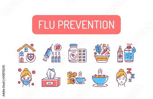 Flu prevention color line icons set Fototapet