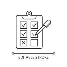Written Survey Linear Icon. Choosing Option. Evaluation Test. Select Answer. Questionnaire. Page On Clipboard. Thin Line Illustration. Contour Symbol. Vector Isolated Outline Drawing. Editable Stroke