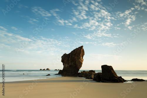 Precioso amanecer en playa de Aguilar con cielo azul y nubes en Muros de Nalón, Canvas Print