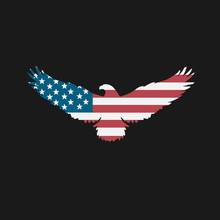 Bald Eagle Silhouette With American Flag Inside Of Isolated Shape