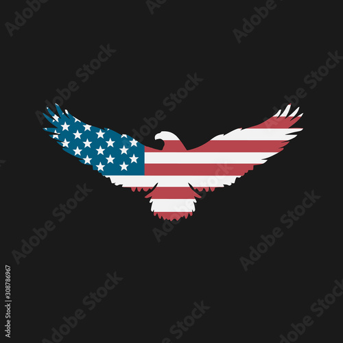 Fotografía Bald Eagle Silhouette with American Flag Inside of Isolated Shape