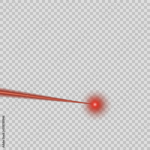 Vector red laser beam on isolated transparent background Wallpaper Mural