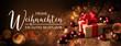 canvas print picture - Weihnachtskarte  -  Grußkarte zu Weihnachten  - Frohe Weihnachten und ein gutes neues Jahr -  Banner, Panorama, Header -  Geschenk mit Christbaumkugeln auf Holz