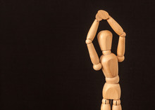 Wooden Mannequin With Hands Up