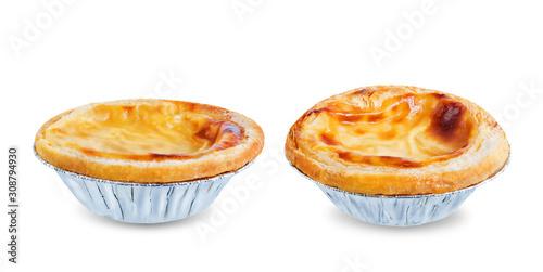 Photographie Portuguese custard pies, Pastel de Nata or Pastel de Belem on a white isolated b