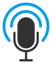 Podcast Vector Icon. Flat Podcast Pictogram Is Isolated On A White Background.