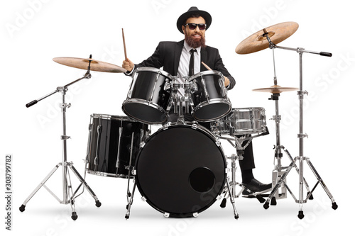 Cuadros en Lienzo Man in a suit playing drums
