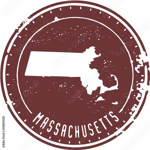 Fototapeta Vintage Massachusetts  USA State Stamp
