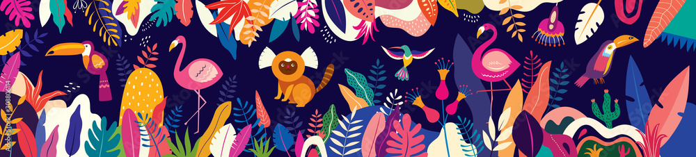 Fototapeta Vector colorful illustration with tropical flowers, leaves, monkey, flamingo and birds. Brazil tropical pattern.