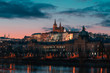 canvas print picture - Prague Castle at Dusk With Beautiful Background With Pink And Blue Colours,