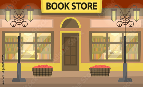 Bookstore building fa ade Canvas Print