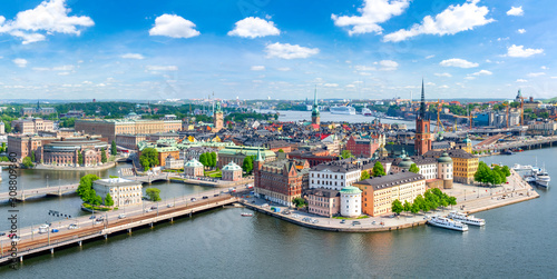 Photo Stockholm old town (Gamla Stan) panorama from City Hall top, Sweden