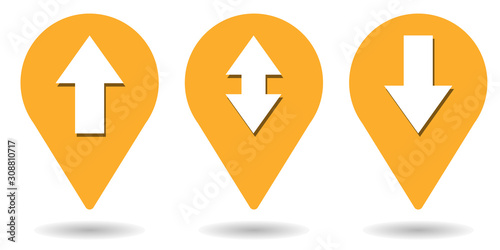 Photo Location pins for arrow up, arrow down and bidirectional arrow