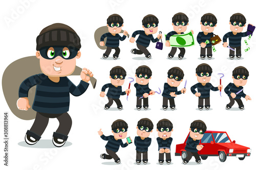 Big vector cartoon set with robber, burglar who stealing money, wallet, handbag, smartphone, cracking car lock, running away, committing crimes with knife and picklock, standing in handcuffs Fototapet