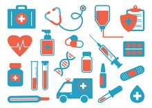 Medicine Icon Set. Red And Blue Colors. Vector Illustration
