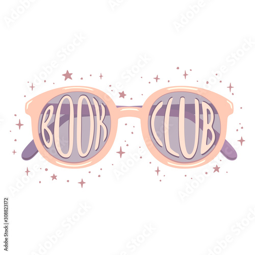 Photo Digital illustration of pink glasses with white lettering Book club inside and with purple stars aroud
