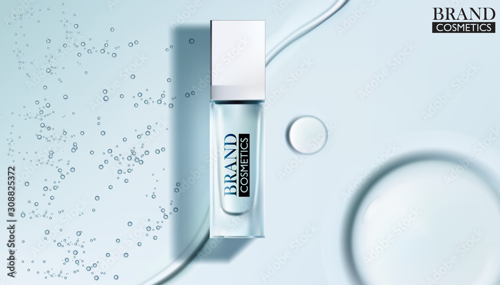 Fototapeta White cosmetic products with Drop of water on cyan background.