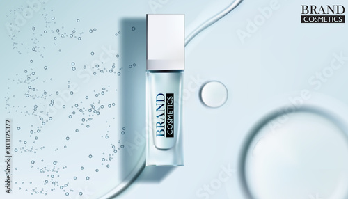 Fototapeta White cosmetic products with Drop of water on cyan background. obraz