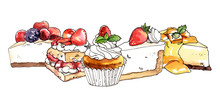 Watercolor Hand Painted Sweet Dessert Cheesecakes And Cupcakes Illustration Isolated On White Background