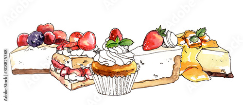 Fototapeta Watercolor hand painted sweet dessert cheesecakes and cupcakes illustration isolated on white background obraz