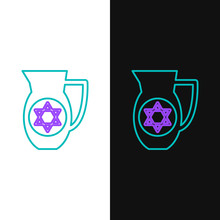 Green And Purple Line Decanter With Star Of David Icon Isolated On White And Black Background. Pottery Jug. Organic Product In Carafe. Vector Illustration
