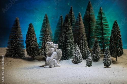 Fotografija Little white guardian angel in snow