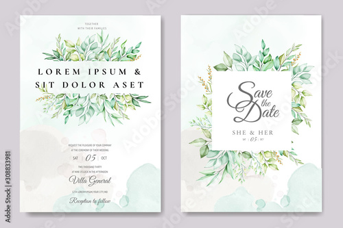 beautiful green leaves wedding invitation card