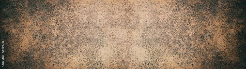 Fototapeta Old brown rustic leather texture - Panorama background long