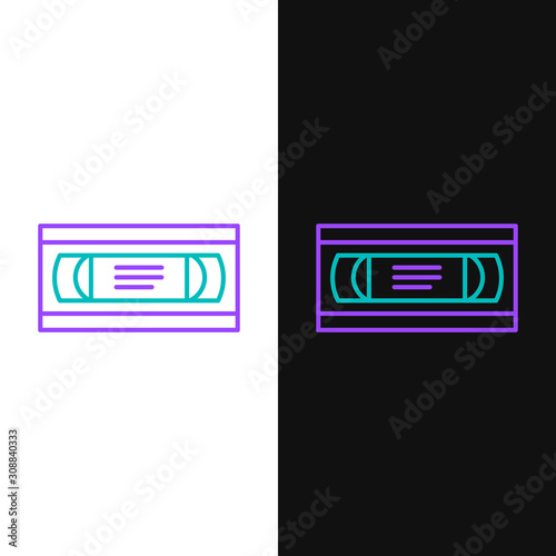 Leinwand Poster  Green and purple line VHS video cassette tape icon isolated on white and black background