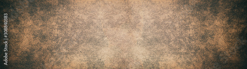 Fototapeta Old brown rustic leather texture - Panorama background long obraz