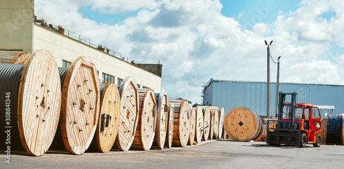 Reels with electrical power cables at the supplier's warehouse Canvas Print