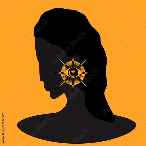 фотографія Female profile image with magic symbol - illustration, vector