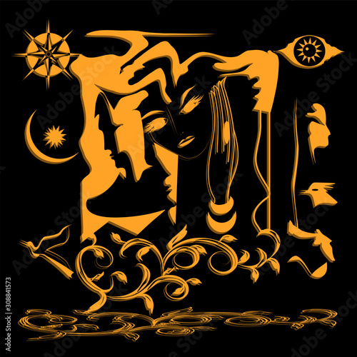 Mystical images and symbols, mystery of the spirit - black background - illustration, vector Фотошпалери