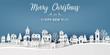 Leinwanddruck Bild - Bannière ou carte merry christmas -  happy new year – maisons sous la neige effet papier découpé