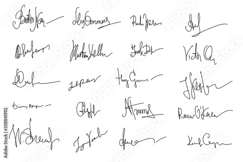 Autographs Set. Collection of Business Contract Signatures Canvas Print