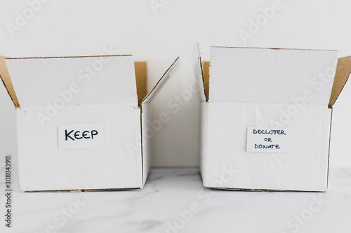 Obraz decluttering concept, storage boxes to sort between objects to keep and those to declutter or donate with labels - fototapety do salonu