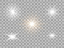 Set White Light, Flash. Bright Star. Shimmering Brilliance. Vector Design Elements Isolated On A Transparent Light Background.