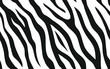 Zebra stripes seamless pattern. Tiger stripes skin print design. Wild animal hide artwork background. Black and white vector illustration.