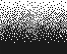 Pixel Random Vertical Mosaic. Effect Of Falling Of Small Monochrome Particles, Squares. Vector Design Element On Isolated Background.