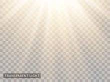 Light Is Bright White With Yellow Soft Transparent Rays. Vector Pattern Overlay On Isolated Background.