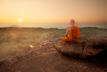 Buddhist Monk In Meditation At...