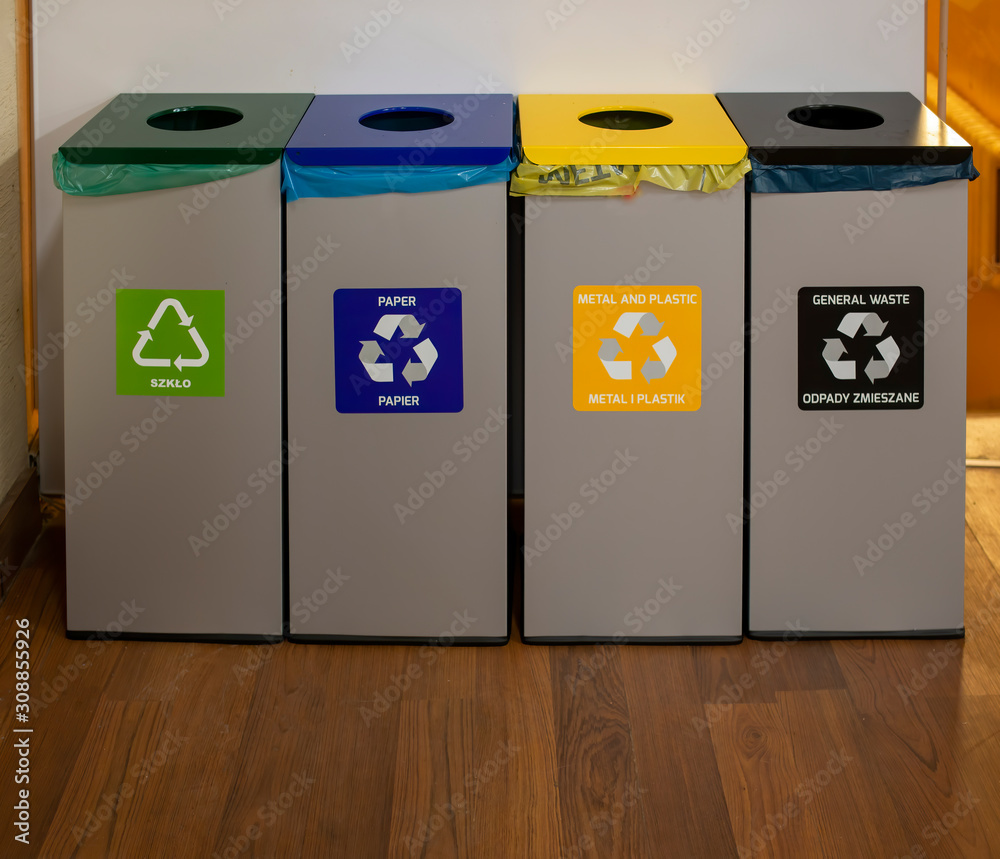 Fototapeta recycle trash cans for save nature