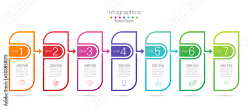 Infographics design vector with 7 options and business icons Wallpaper Mural