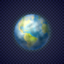 Earth Planet With Green Contin...