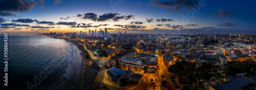 Photo Tel Aviv skyline during dawn in Israel