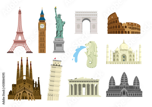 World famous buildings vector illustration set ( world heritage ) / Statue of liberty, Eiffel tower, Sagrada Familia etc Fotobehang