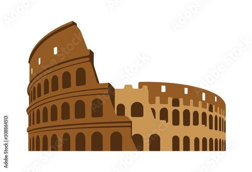 Fényképezés Colosseum - Italy, Rome / World famous buildings vector illustration