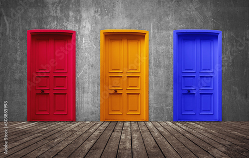 Three door yellow, red and blue choice on domestic rustic room Wallpaper Mural